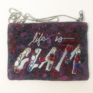 Steve Madden life is glam purse bag pouch purple
